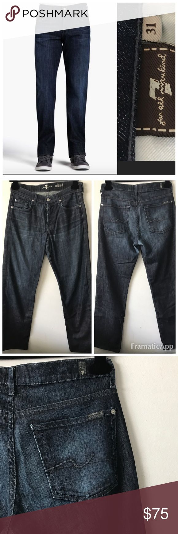 7 for all Mankind Men's Relaxed Jeans $197 size 31 7 For all Mankind Men's Relaxed Jeans in Los Angeles Dark size 31 Excellent condition! $187  The Relaxed sits higher on the waist & is a loose fitting jean w/a bootcut opening. It is a 5-pocket jean that has a button fly & 7 For All Mankind's signature squiggle back pocket design. The epitome of true LA style, the Los Angeles Dark is a rich indigo denim w/whiskering, light abrasion, and fading on the front & back * Button Fly * Made in the…