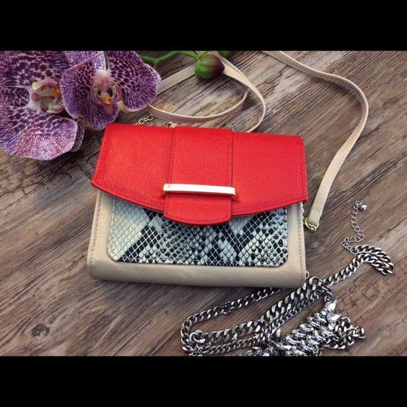 """Red and nude clutch Comes with drop chain, can be used as cross body bag or clutch. 6.5"""" x 5.25"""" Bags Crossbody Bags"""