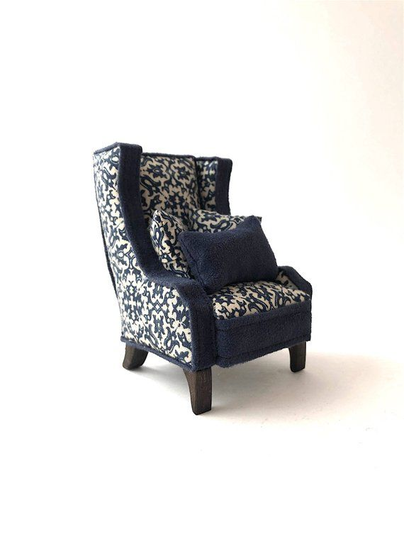 WINGBACK CHAIR Modern Miniatures 112 Scale Dolls House French