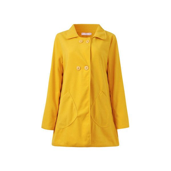 Casual Solid Long Sleeve Turn-down Collar Button Pocket Coat ($21) ❤ liked on Polyvore featuring plus size women's fashion, plus size clothing, plus size outerwear, plus size coats, women plus size outerwear, yellow, womens plus coats, button coat, print coat and yellow coat