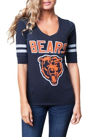 Hot Chicago Bears Womens Half Sleeve Vintage Vneck | Chicago Bears  free shipping