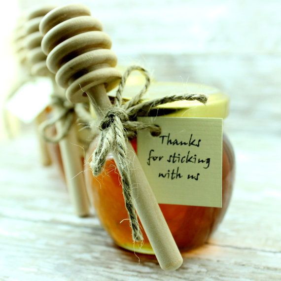 SET OF 60 HONEY jars with dipper favors rustic by EcohausProject, $270.00
