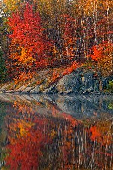 Simon Lake with morning fog and autumn reflections, Greater Sudbury (Naughton), Ontario, Canada