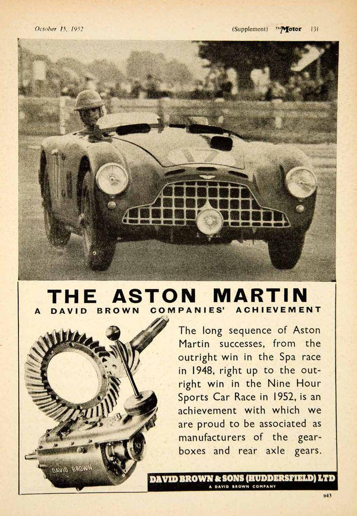 1952 Ad David Brown Aston Martin DB3/5 Race Sports Car Gearbox Axle Parts YTM5