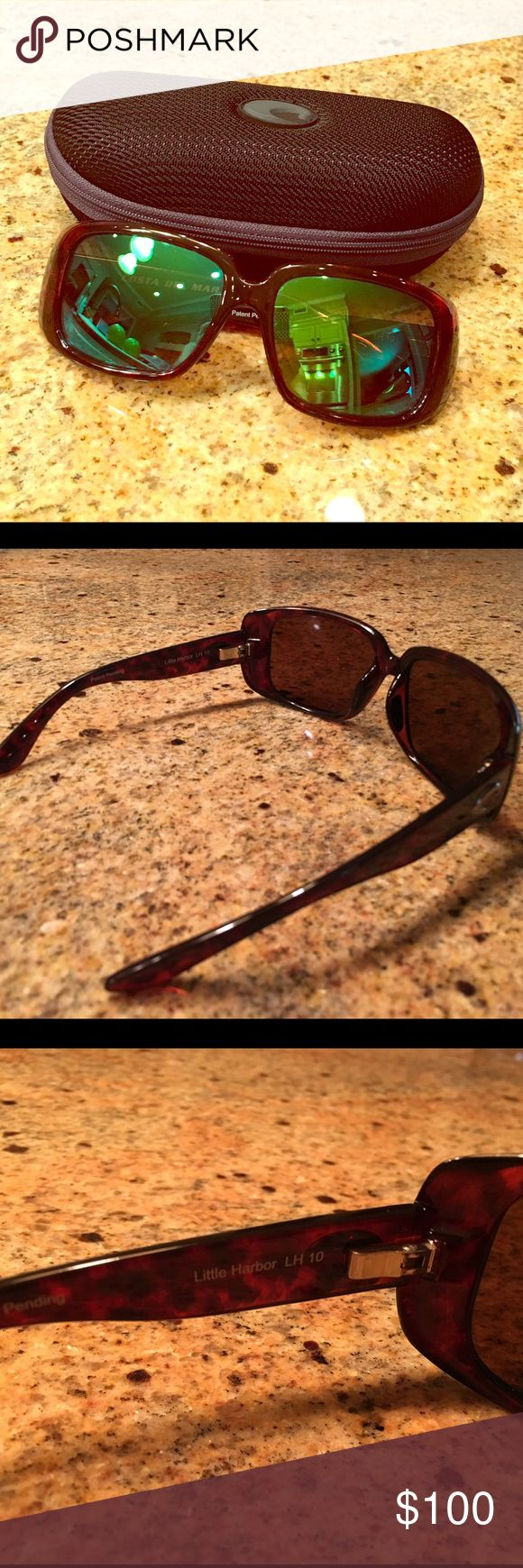 Costa Del Mar Little Harbor Polarized Sunglasses Gently used, case kept Costa Del Mar ladies sunglasses. Little Harbor style. Brown Tortoise with green mirror lenses. No defects. Original owner. Costa Del Mar Accessories Sunglasses