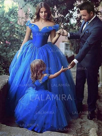 3bdc21359e3 Ball Gown Off-the-Shoulder Floor-length With Beading Tulle Flower Girl  Dresses (010145257)
