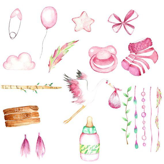 Babyshower Clipart Watercolor Babygirl Clipart Babyparty