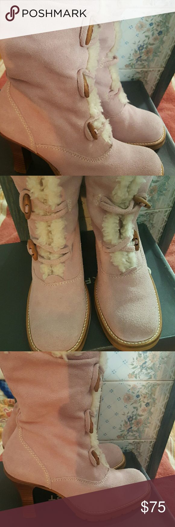Suede boots Sweetest pink ,fully linned with taggle buttons genuine wood soles, rubber botten slip proof these boots are well made conffe too!wore them a total of a couple hrs.sz10 made in Brazil Steve madden for the Steve madden boutique Shoes Heeled Boots