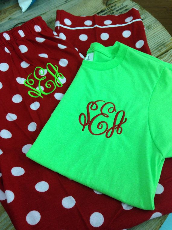 monogrammed christmas pajamas youth and adults by stacysplace004