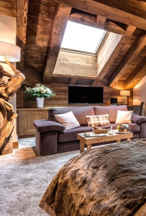 A very modern cabin. Large, heavy, smooth timbers …