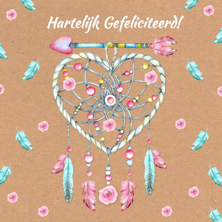 Verjaardag hart bohemian hart veren, verkrijgbaar bij #kaartje2go voor €1,99