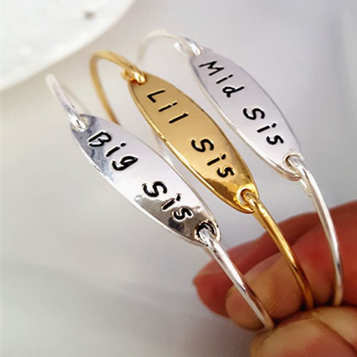 3pcs /set Gold color Silver color Big Mid Little Sister Bangle Bracelet 10sets/lot