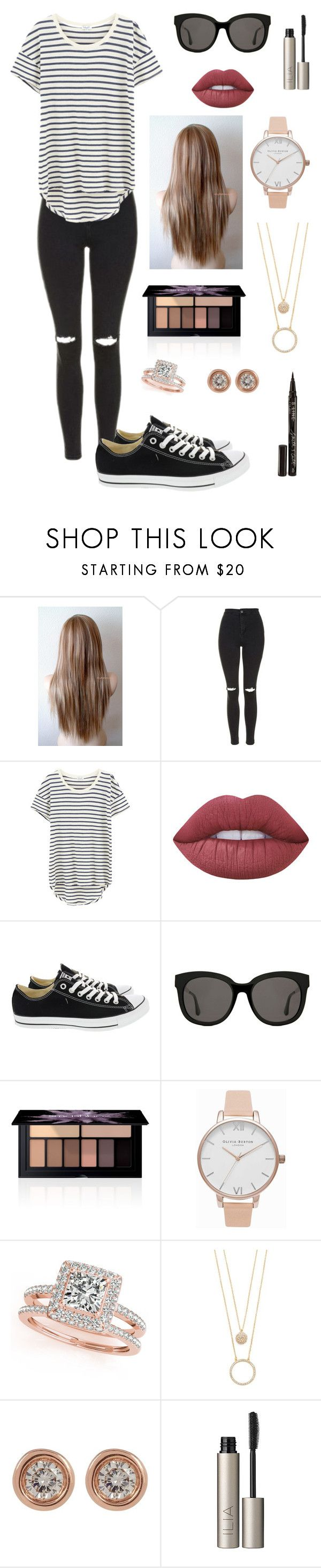 """Casual Dress #14"" by rachelakopp on Polyvore featuring Topshop, Splendid, Lime Crime, Converse, Gentle Monster, Smashbox, Olivia Burton, Allurez, Kate Spade and Ron Hami"