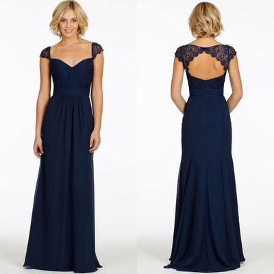 navy bridesmaid dress,Long bridesmaid dress,cap sleeves bridesmaid dress,2016 bridesmaid dress,BD446