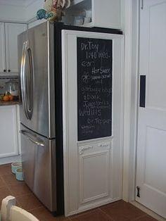 Image result for disguise side of fridge chalk board bulletin board