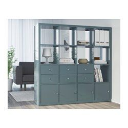 IKEA - KALLAX, Shelf unit, high gloss gray-turquoise, , You can use the furniture as a room divider because it looks good from every angle.
