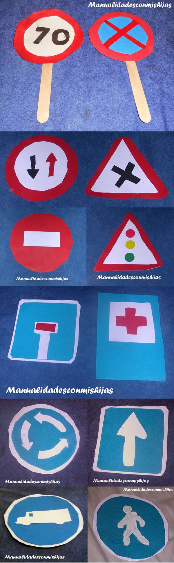 Manualidadesconmishijas - Manualidades infantiles: Señales de tráfico: Obligación, prohibición, peligro, Indicación...