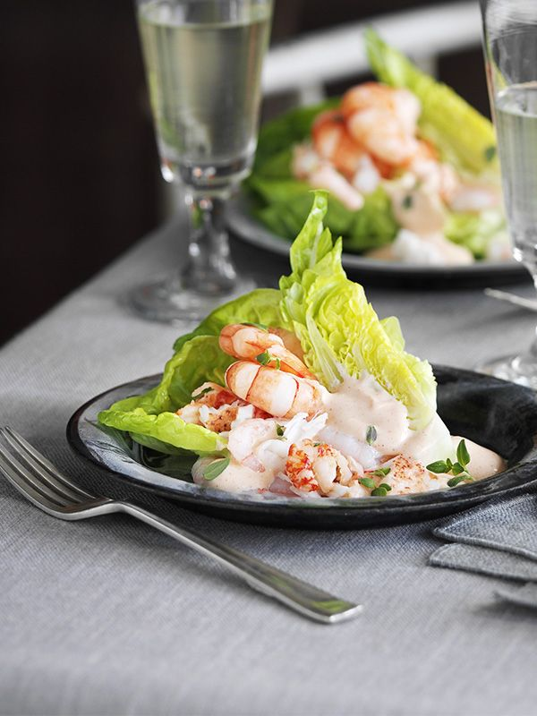 John Torode uses a mixture of big meaty prawns and smaller sweet ones for texture and flavour, with added lobster for a special festive starter. The sauce is rich and refreshing with a spicy kick. You can make the sauce in advance then assemble everything just before serving.