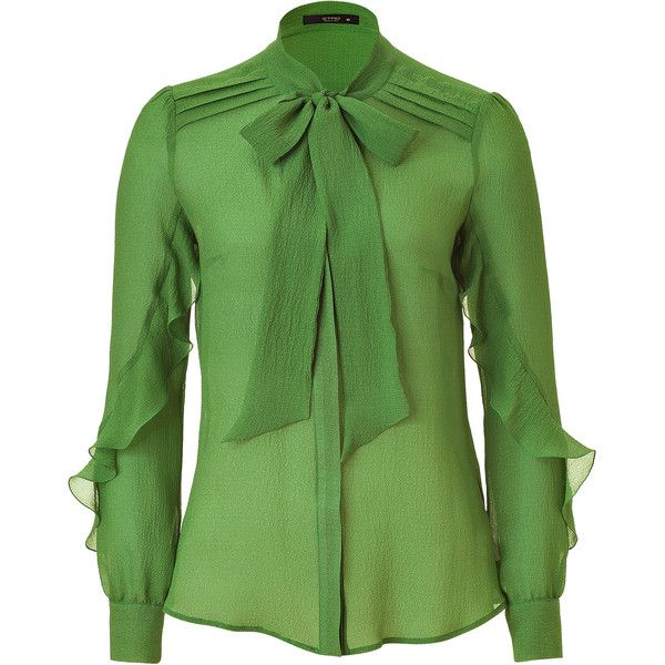 ETRO Green Sheer Silk Top ❤ liked on Polyvore