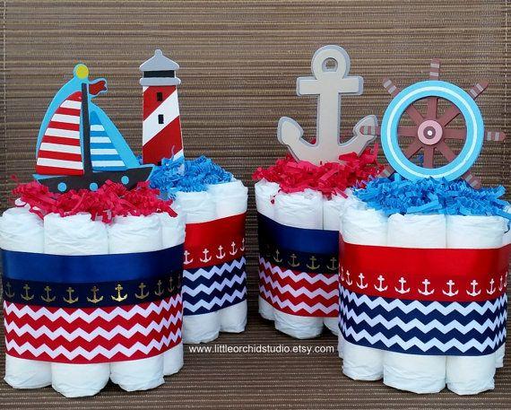 Set of 5 mini Nautical Diaper cake/ 2 Tier / 3 Tier / Boys diaper cake/ Sailor Diaper cake/ Nautical Baby Shower/ Baby Shower Centerpiece