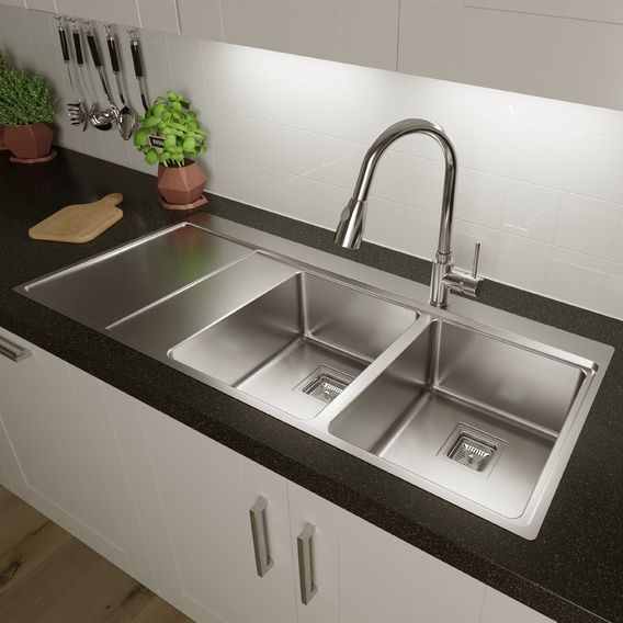 Sauber 2 Bowl Square Inset Stainless Steel Sink Left Hand Drainer Stainless Steel Sinks Kitchen Sink Design Inset Sink