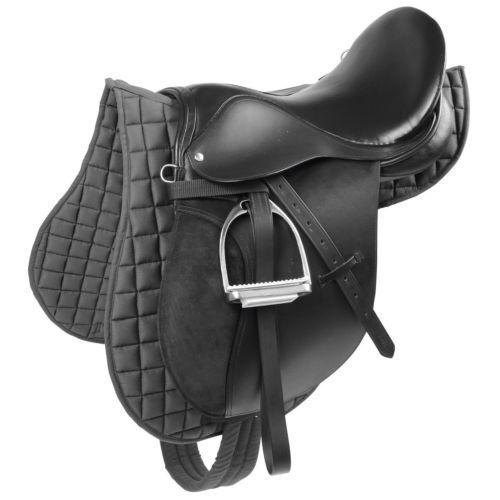 KERBL Sattel-Set Leder Pferdesattel Ponysattel Vielseitigkeitssattel