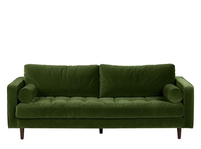 Scott, canapé 3 places, velours vert impérial