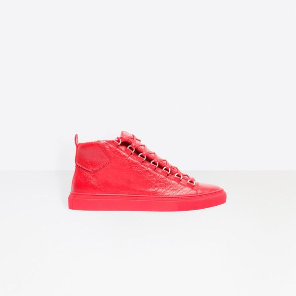 Balenciaga High Sneakers ($645) ❤ liked on Polyvore featuring men's fashion, men's shoes, men's sneakers, man shoes arena sneakers, rouge grenade, balenciaga mens shoes and balenciaga mens sneakers