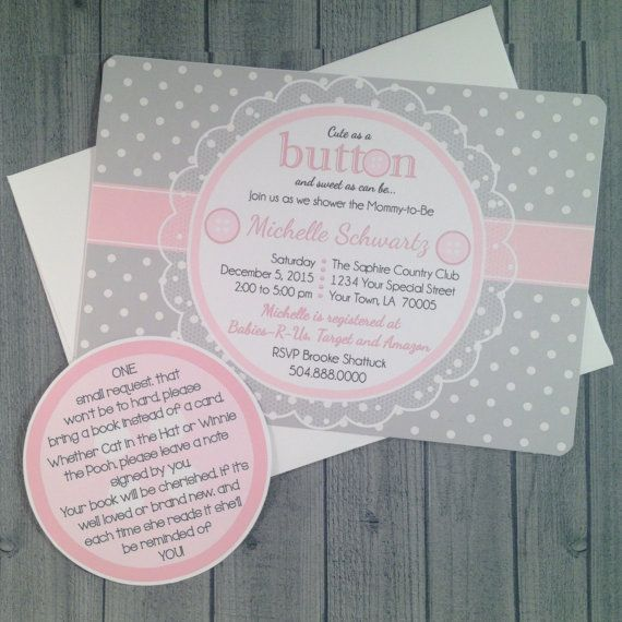 "8 - ""Cute As A Button"" Baby Shower printed Shower Invitations with 28lb bond paper Envelope Baby ..."