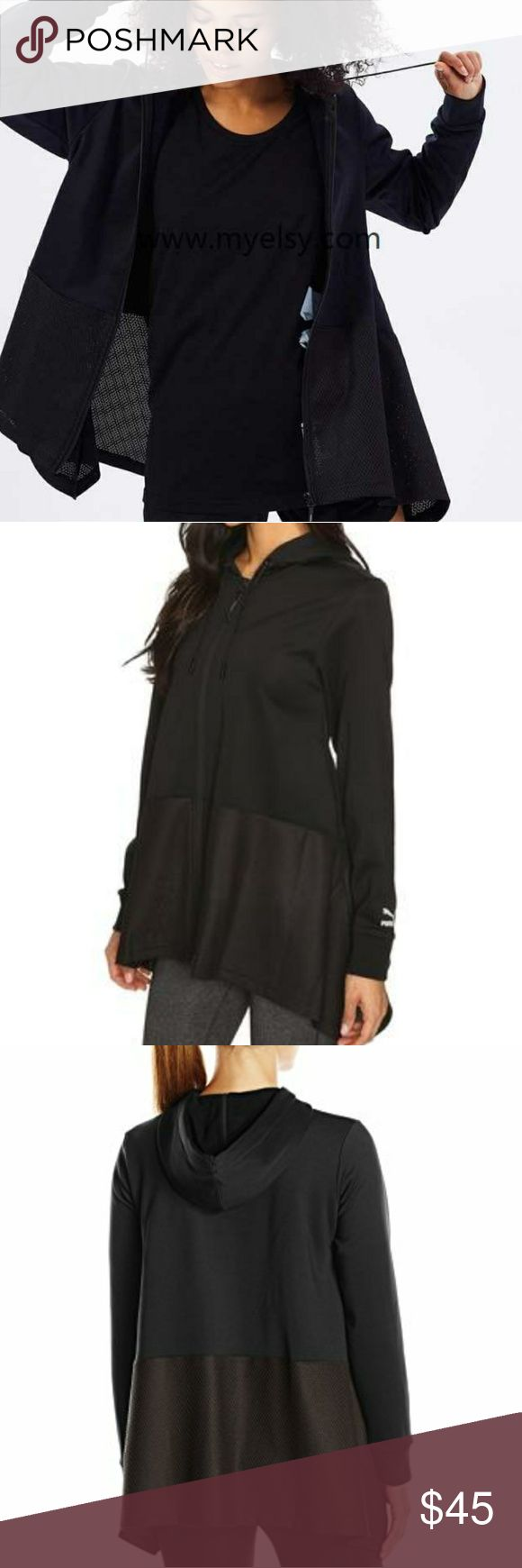 NWT Puma Evo Drapey Full Zip Hoodie Solid black. A flirtatious drape kicks your comfy look into high gear. PUMA® Lifestyle apparel marries the essence of sports performance with the refined finishes and detailing of the fashion industry. Mesh panels at bottom hem help add texture and breathability to this top. Attached hood with drawstring ties. Puma Jackets & Coats
