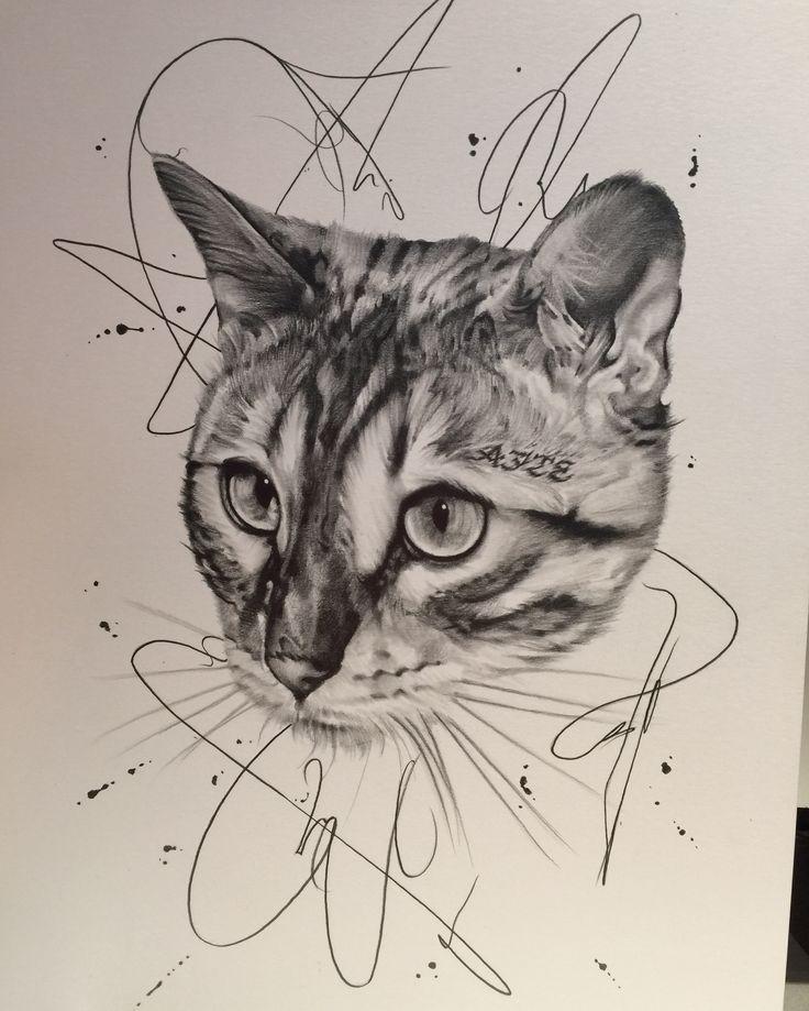 Bengal cat pencil drawing