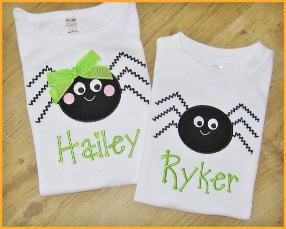Halloween Applique Spider TShirts Sibling Set. These little spiders are nothing but adorable.