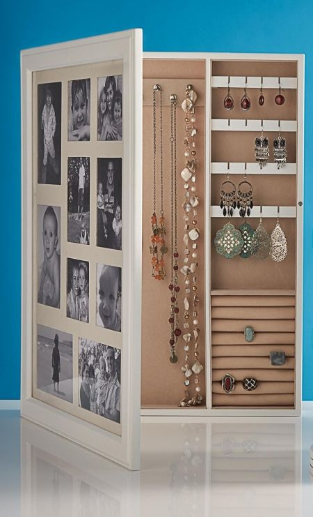 Fed up with rummaging for your favourite earrings or necklace? Store your treasured keepsakes together in this wall mountable Jewellery Cabinet with Photo Frame.  Available at Howards Storage.