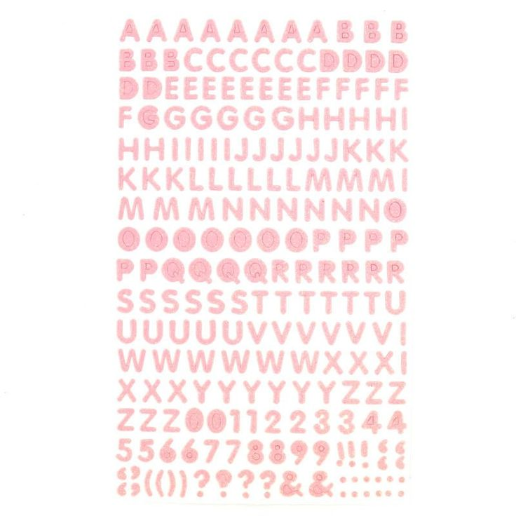 Pink Glitter Letter And Number Stickers 172 Pieces | Hobbycraft
