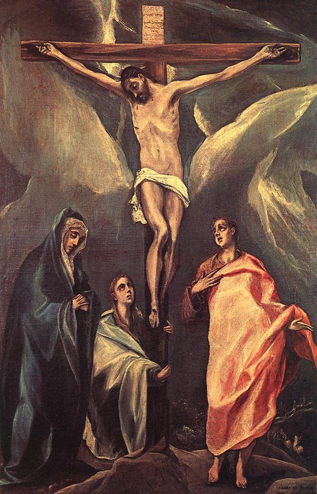 Christ on the cross with two Maries and St. John via El Greco Size: 80x120 cm