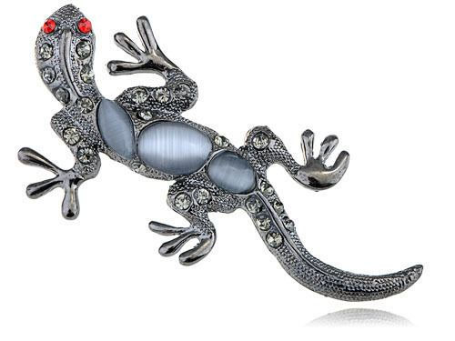 Cat Eye Gem Ruby Crystal Rhinestone Silver Tone Reptile Gecko Lizard Pin Brooch