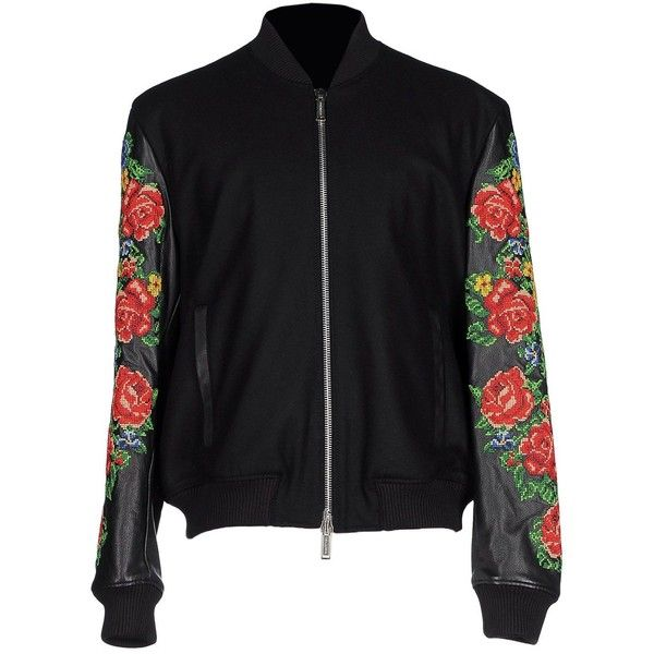 Dsquared2 Jacket ($1,512) ❤ liked on Polyvore featuring men's fashion, men's clothing, men's outerwear, men's jackets, black, mens padded bomber jacket, mens padded jacket, mens bomber jacket, mens zip up jackets and mens padded leather jacket