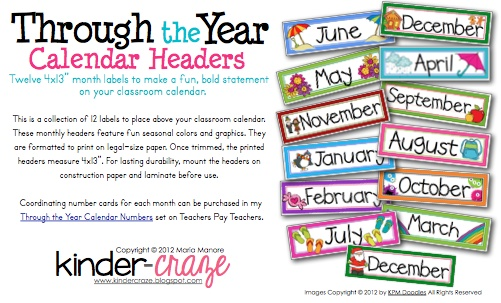 Monthly Calendar Headings : Free months of the year labels printables teacher