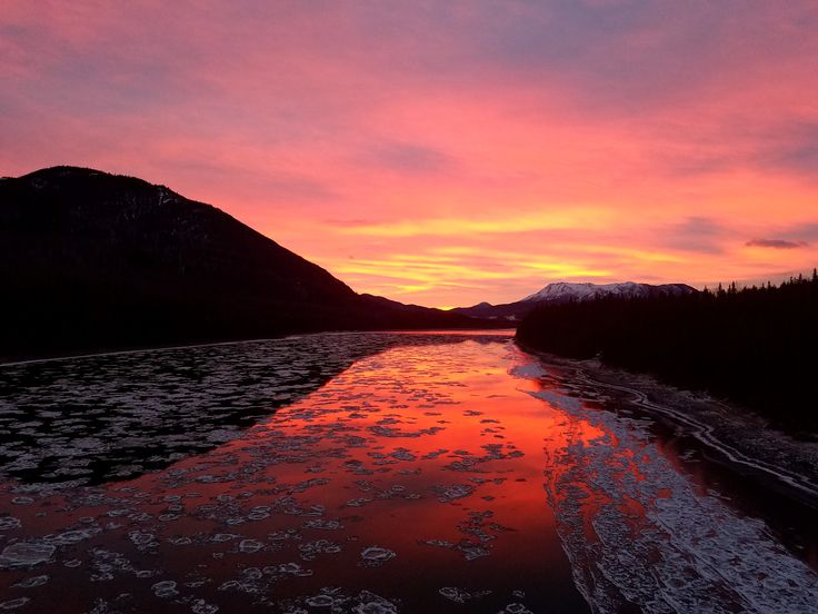 No filter needed. Greatest sunrise I have ever experienced. Liard River Provincial Park British Columbia Canada [OC] [4032x3024]