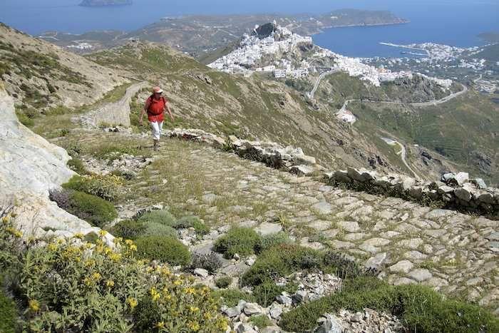 Walking on ancient paved Kalderimi on Serifos