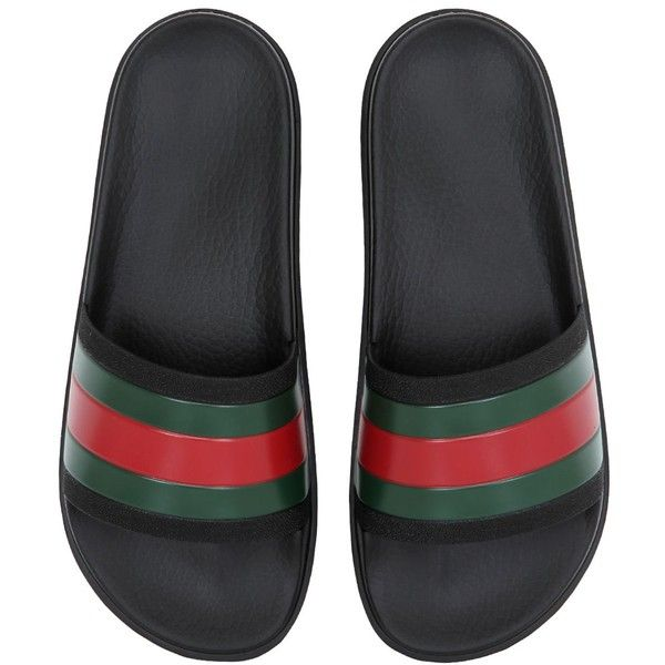Gucci Men River Cat Patch Leather Mules W/ Fur ($915) ❤ liked on Polyvore featuring men's fashion, men's shoes, black, mens shoes, mens sandals, mens black sandals, mens rubber shoes and mens black shoes