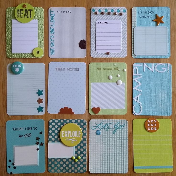 Scrapbook journal cards + embellishments.                                                                                                                                                                                 More