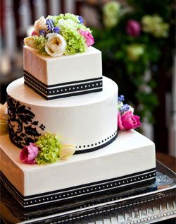 A black damask pattern on the center tier is balanced by delicate stripes and dots on the top and bottom.