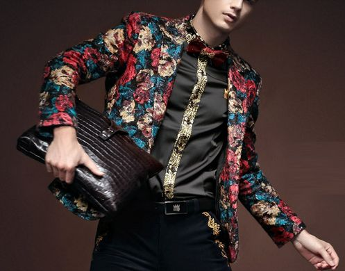 Modern In-Style Red Blue Floral Blazer