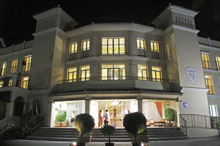 The entrance to Hotel Tamisa Golf on a summer evening. The hotel is situated in Mijas Costa, close to Fuengirola in southern Spain.