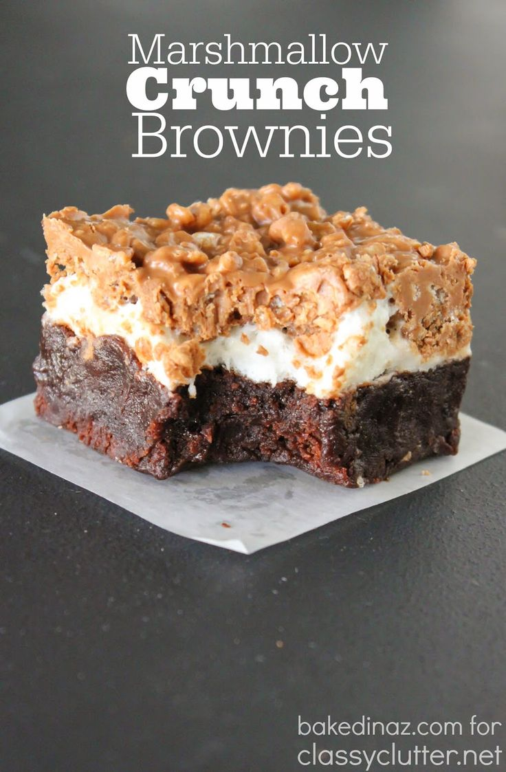 Marshmallow Crunch Brownies. I have got to try these! Yumm.