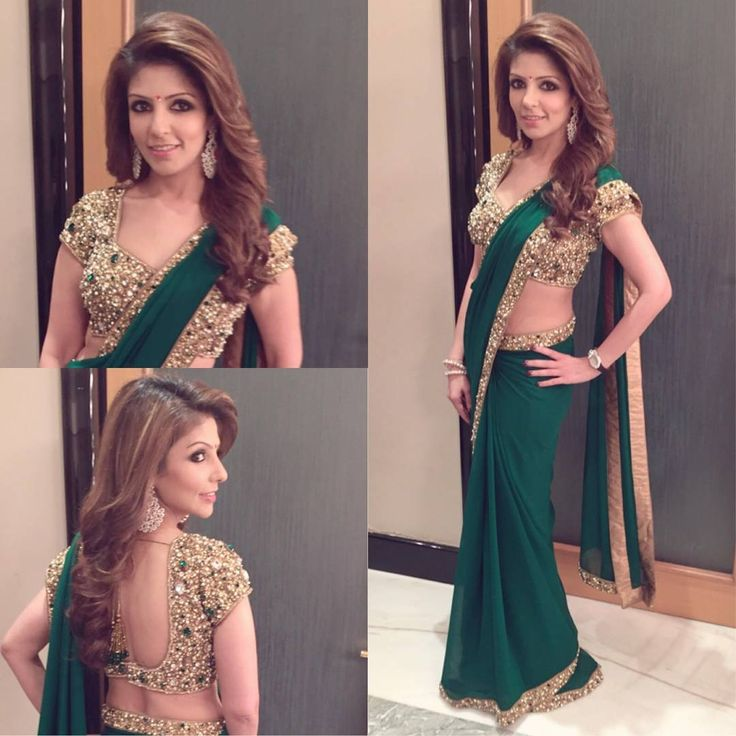 """""""Client Diaries...Resham looking absolutely stunning in #seemakhan emerald green jeweled saree set.... #clientdiaries #jeweledblouse #sarees…"""""""