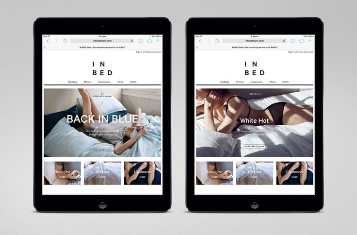 Website for online linen retailer In Bed designed by Moffitt.Moffitt
