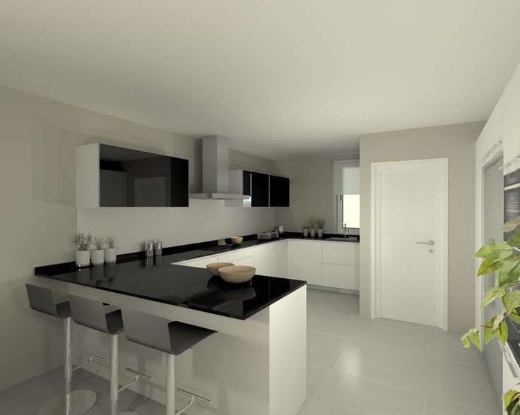 cocina santos modelo line e blanco con encimera granito negra - Cocinas Blancas Y Negras