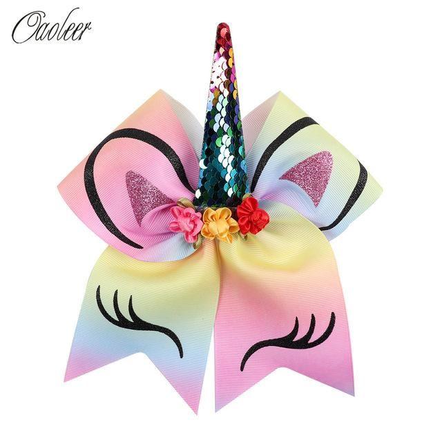 Unicorn Flower Cheer Bow